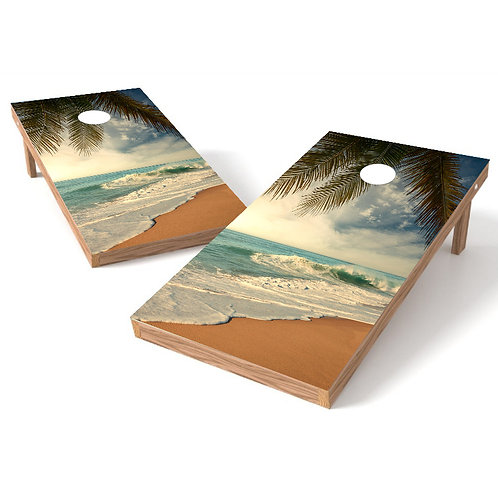 Ocean Beach Sand Palm Trees Cornhole Board Wrap