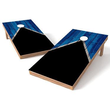 Half Triangle Worn Black Blue Cornhole Board Wrap - Add Logo