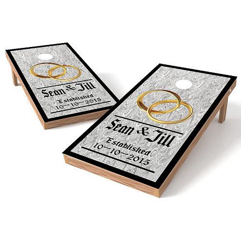 White and Black Pattern Wedding Cornhole Board Wrap - Personalize