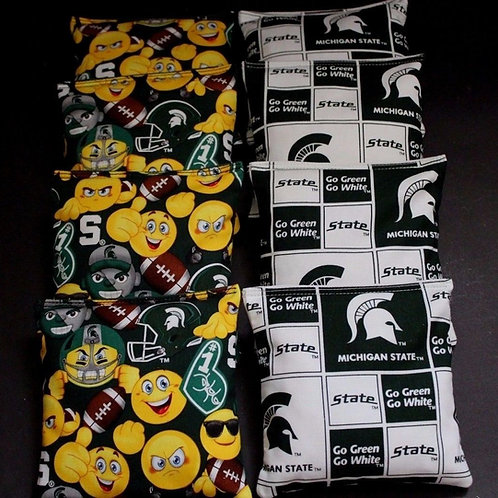 Michigan State Emoji and Go Green Go White Cornhole bags, set of (8)