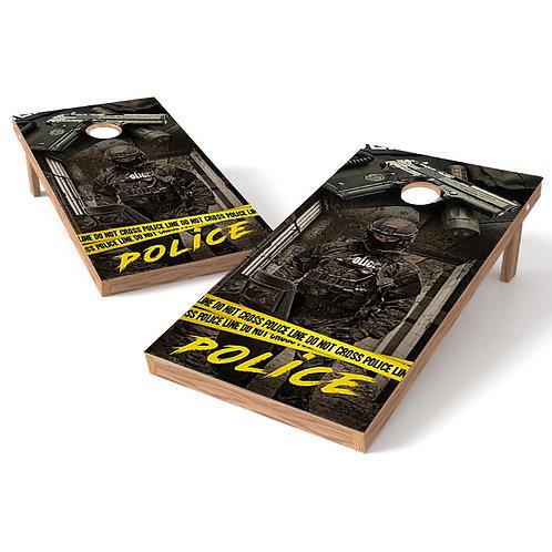 Police Line Cornhole Board Wrap