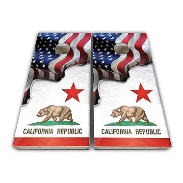 California Cornhole CA State Flag American Flag Cornhole Board Wrap Decal