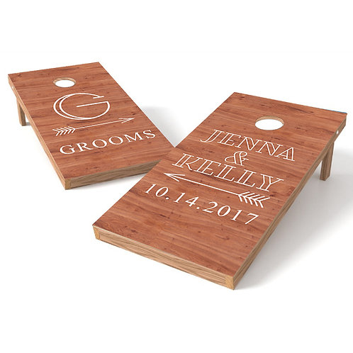 Bride & Grooms Wedding Cornhole Board Wrap - Personalize