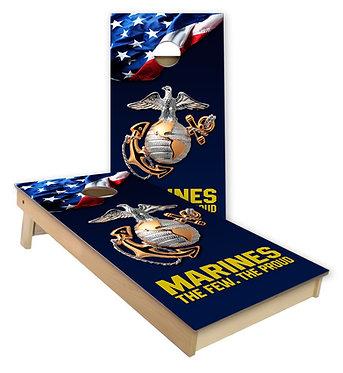 Marine Globe The Few The Proud Flag Cornhole Wrap