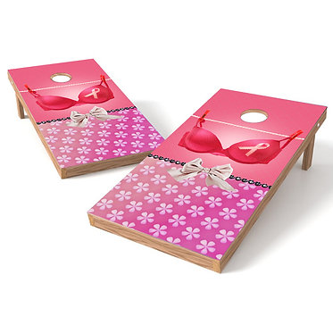 Breast Cancer 1 Pink Ribbon Cornhole Wrap