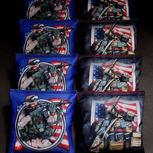 Armed Forces military soldier flag Cornhole bags, set of (8)