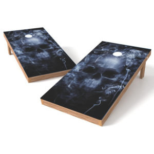Smoking Skull Cornhole Board Wrap