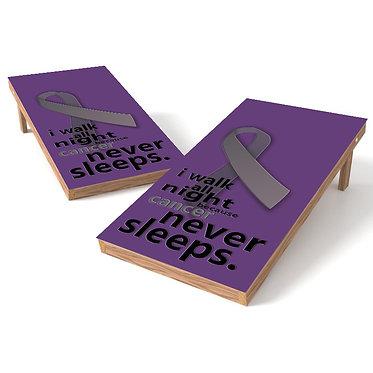 Cancer Never Sleeps Cornhole Board Wrap