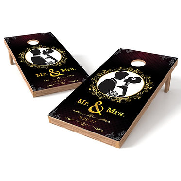 Mr and Mrs floral wedding Cornhole Board Wrap