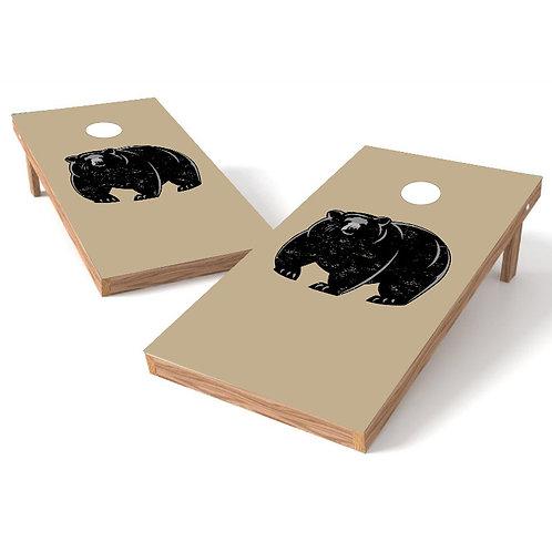 Khaki Bear Cornhole Board Wrap - Personalize