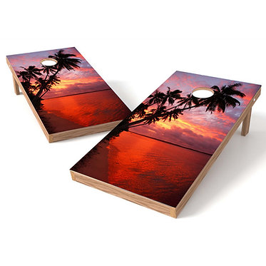 Palm Trees Sunset Cornhole Decal Wrap