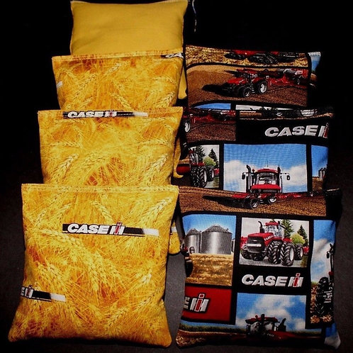 Red CASE IH Tractor Country fabric harvest Cornhole bags, set of (8)
