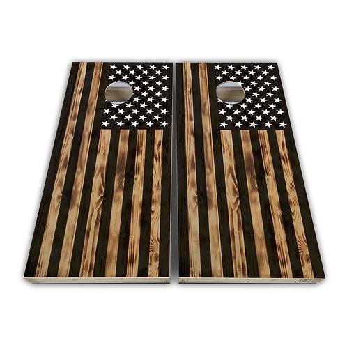 USA Wood FLag Cornhole Board Game Set