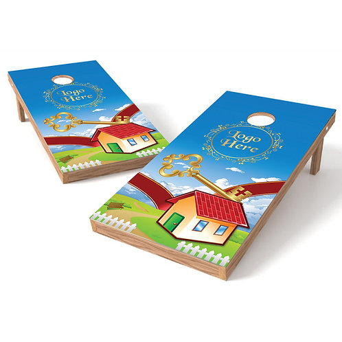 Key Your New Home Cornhole Wrap Baggo Corn Toss Wrap - Personalize Free