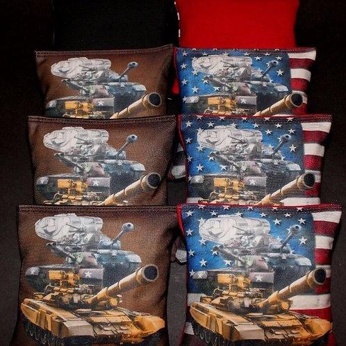 Custom Patriotic Military Army Tanks Cornhole bags, set of (8)