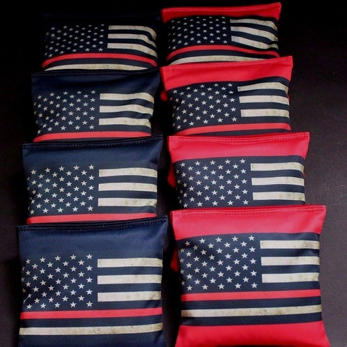 Red Lives Matter Fire Fighter Cornhole bags, set of (8)