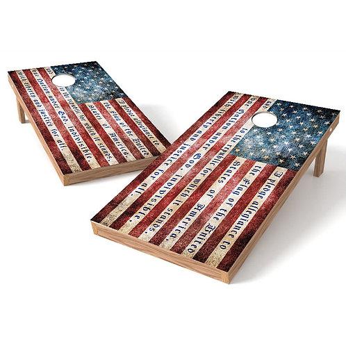 American Flag Pledge Allegiance Cornhole Wrap