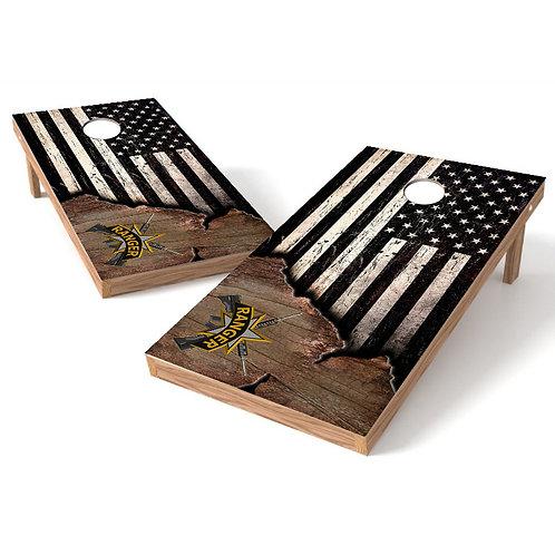 US Ranger Ripped Worn Flag Cornhole Wrap