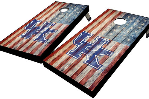 UNIVERSITY OF KENTUCKY AMERICAN FLAG RUSTIC PLANKS CORNHOLE BOARD SET