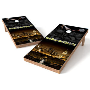 Coal Miner Keep the Lights On Cornhole Board Wrap