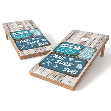 This Way To The Beach Sign Cornhole Decal Wrap