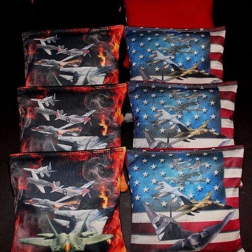 US Air Force Combat Jets Cornhole bags, set of (8)