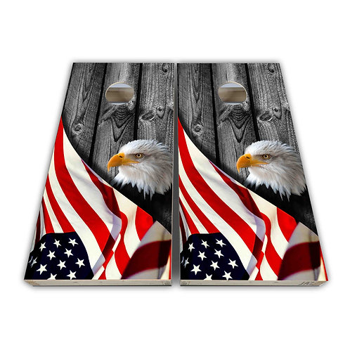 American Eagle and Flag Cornhole Board Skin Wrap