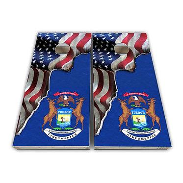 Michigan Cornhole Michigan State Flag American Flag Cornhole Board Wrap Dec