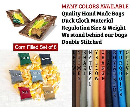 Corn Filled Cornhole Bag Set - Regulation - Pick 2 Colors  (3-5 Days to Ship)