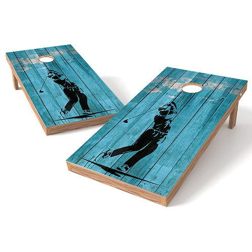 Golf Swing Blue Wood Cornhole Board Baggo Bag Toss Cornhole Wrap