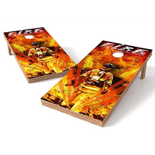 Firefighers Super Heroes Cornhole Board Wrap