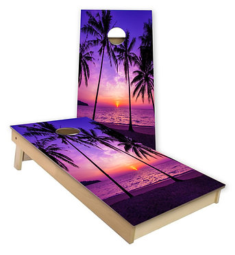 Palm Tree Sunset Cornhole Decal Wrap