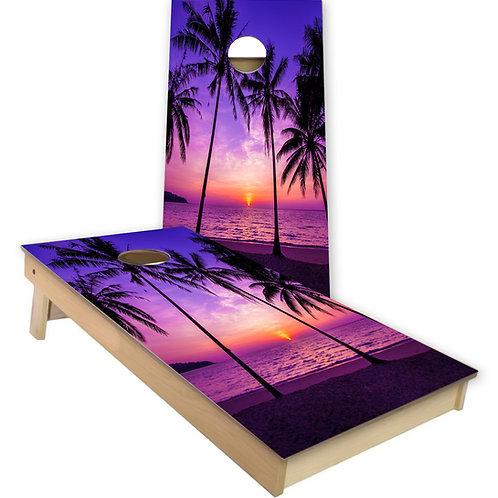 Palm Trees Sunset Cornhole Board Set