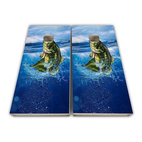 Jumping Bass Small Mouth Bass Cornhole Board Set Baggo Set