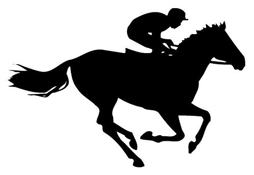 Horse Racing Silhouette Cornhole Board Decal Sticker