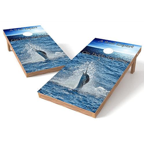 A Reel Expert Cornhole Board Wrap