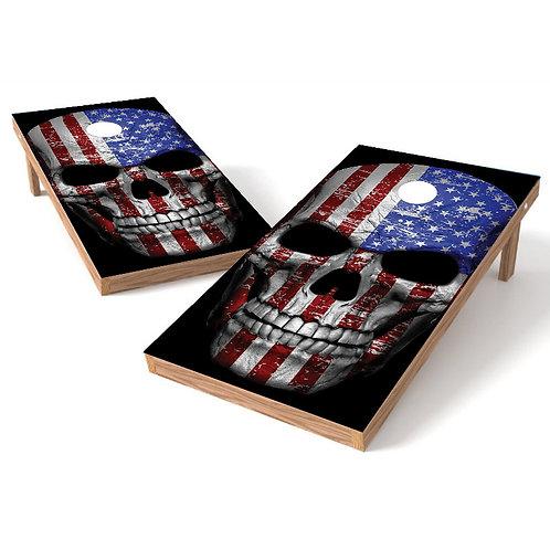 Skull Flag Head Cornhole Board Wrap