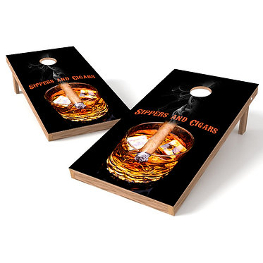 Sippers and Cigars Cornhole Board Wrap