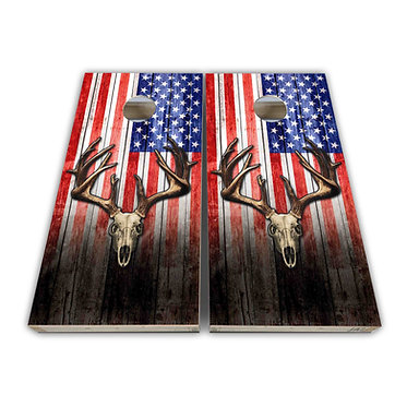 Antlers Deer Flag Cornhole Wrap Decal