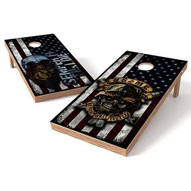 Semper Fi USMC Skull Flag Cornhole Decal Wrap
