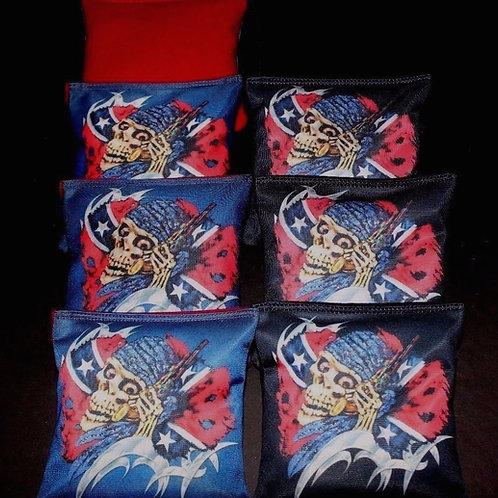 PIRATE SKELETON REBEL BATTLESHIP Cornhole bags, set of (8)