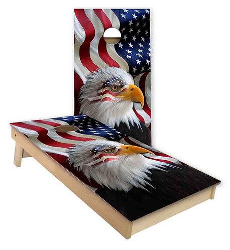 American Eagle American Flag Cornhole Board Wrap