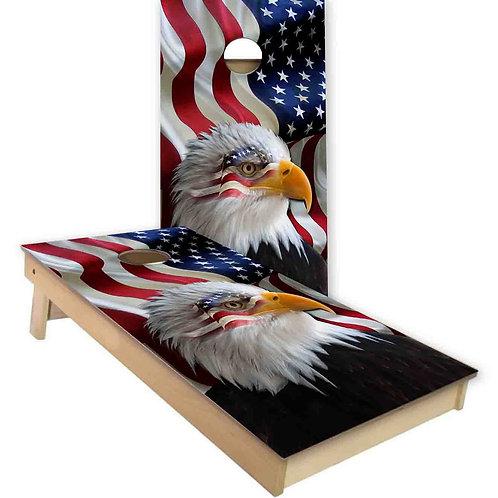 American Flag American Eagle Cornhole Board Set
