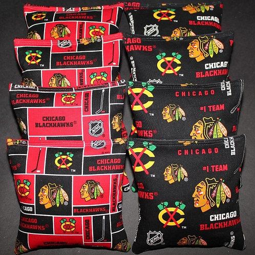 Chicago Blackhawks Hockey Cornhole bags, set of (8)