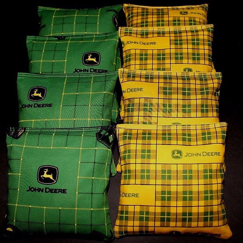 Country Green Plaid John Deere Cornhole bags, set of (8)