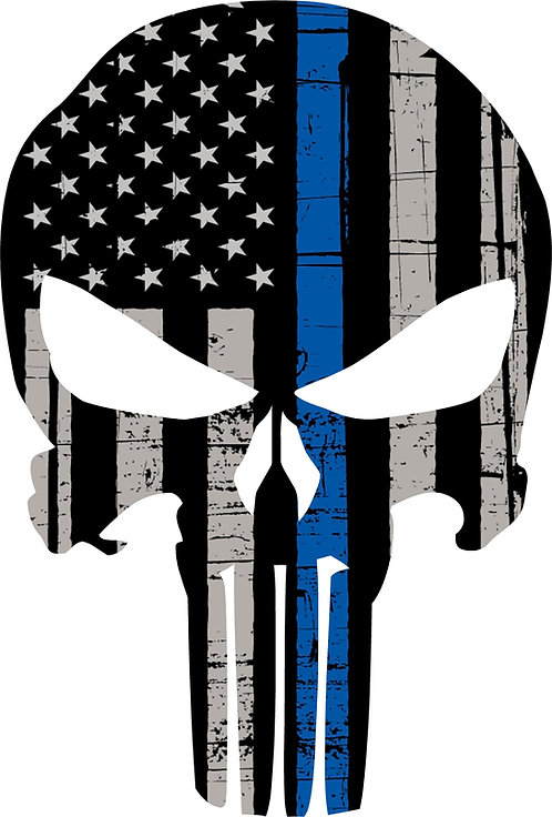 Reaper Skull Blue Line Cornhole Board Decal Sticker