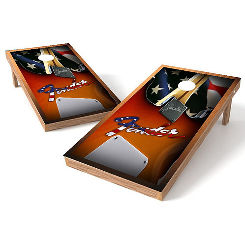 Fender Guitar Decal Cornhole Board Wrap