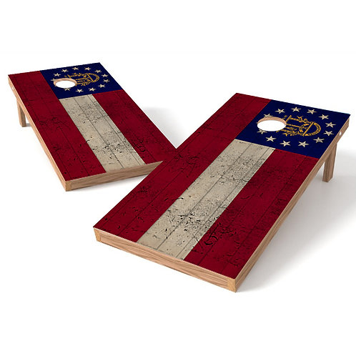 Georgia Worn Flag Cornhole Wrap