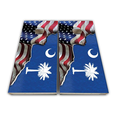 Palmetto South Carolina State Flag American Flag Cornhole Board Wrap Decal