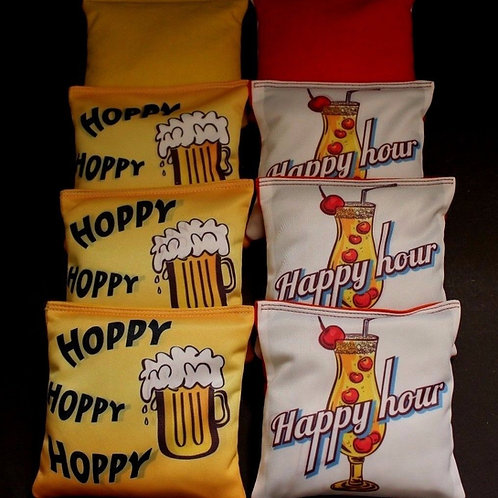 DRINKS FOR EVERYONE HAPPY HAPPY HOUR Cornhole bags, set of (8)